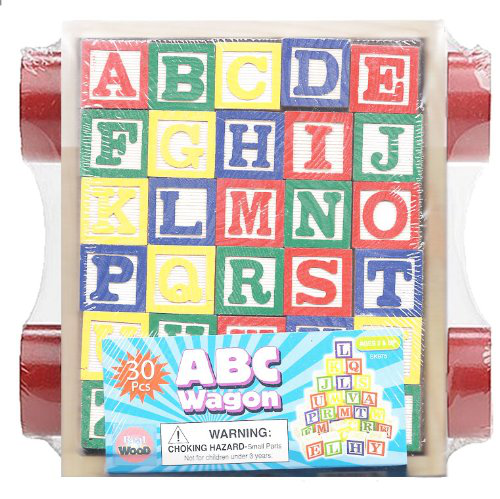 30 Piece Abc Stack N Build Wagon Blocks